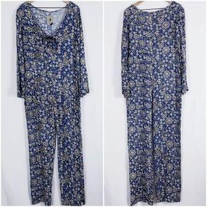 OneTeaspoon blue floral tie front jumpsuit sz Med